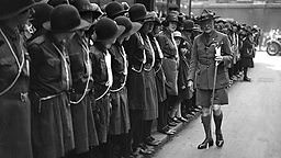 Girl Guide Headquarters, Buckingham Palace Road, London, 23rd May 1930, Lord Baden Powell inspects Girl Guides